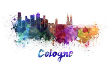 Cologne Skyline In Watercolor