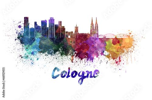 Fotomural  Cologne skyline in watercolor