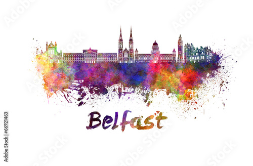 Belfast skyline in watercolor Fototapeta