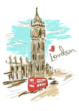 Fototapeta Big Ben - Sketch illustration of Big Ben tower