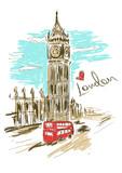 Fototapeta Big Ben - Sketch illustration of Big Ben tower