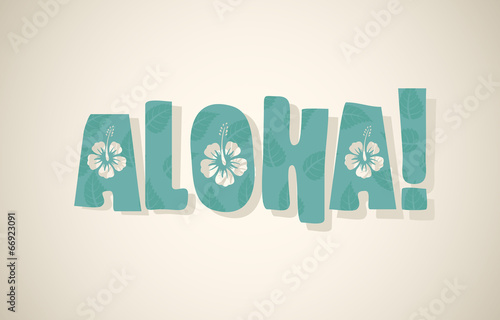 Photo Vector aloha word in retro colors