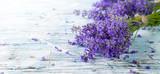 Fresh lavender on wood