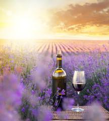 Fototapeta Lawenda Bottle of wine.