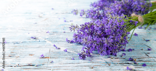 Foto op Canvas Lavendel Fresh lavender on wood