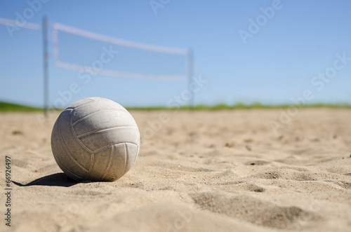 Volleyball and court in background Canvas Print