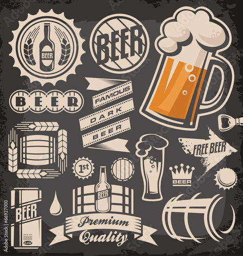 Fotografie, Tablou  Set  of beer emblems, symbols and logos