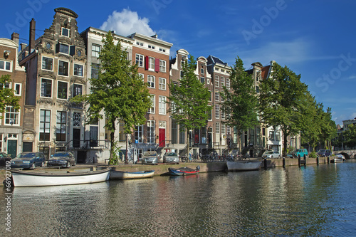 Houses along the canals in Amsterdam Canvas Print