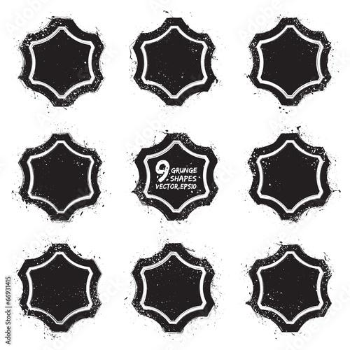 In de dag Cartoon draw Grunge abstract textured vector badges