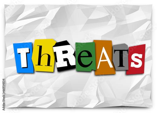 Fotografía  Threats Word Cut Out Letters Ransom Note Risk Danger Warning
