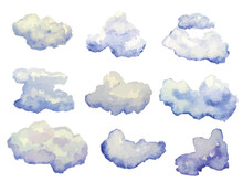 Vector Set Of Watercolor Cloud...