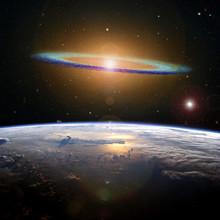 The Sombrero Galaxy High Above The Earth.