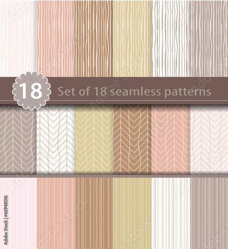 Poster Artificiel Set of 18 seamless patterns, wood, line art design