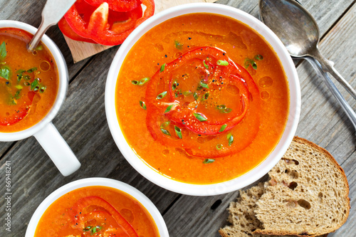 Fotografie, Obraz  Roasted red pepper soup in white bowl