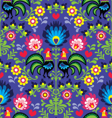 Seamless Polish folk art pattern with roosters - Wzory Lowickie