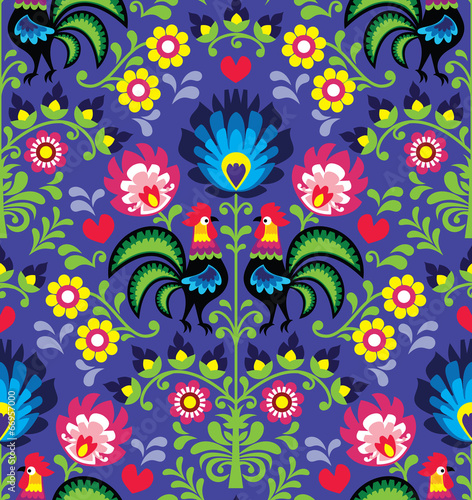 Obraz Seamless Polish folk art pattern with roosters - Wzory Lowickie - fototapety do salonu