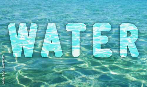 Poster Waterlelies Water surface with water text