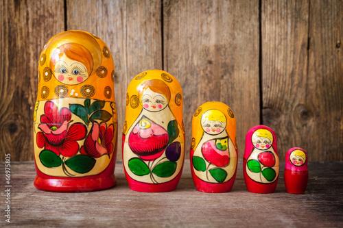 Photo Babushkas or matryoshkas dolls.