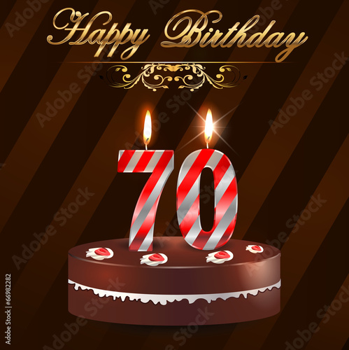 70 Year Happy Birthday Card With Cake And Candles