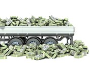 Car Truck With Money Isolated ...