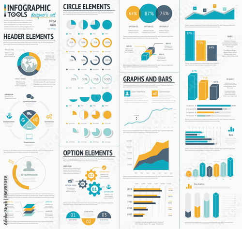 Fotografie, Obraz  Large infographic vector elements template designers collection