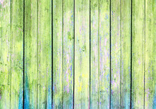 Old Wooden Wall, Green Backgro...