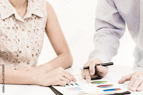 Fototapety, obrazy: Business people discussing during a meeting on table