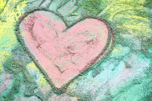 Pink Chalk Heart On Colorful B...