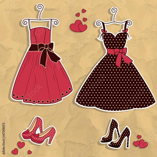 Papiers peints Hibou Sample of women's dresses with shoes