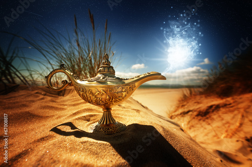 Fotografie, Obraz  Kouzelná lampa Aladdins Genie