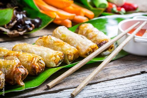 Fototapety, obrazy: Freshly fried spring rolls