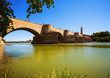 Medieval stone bridge over Ebro river in Zaragoza