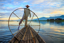 Fishermen In Inle Lake At Sunr...