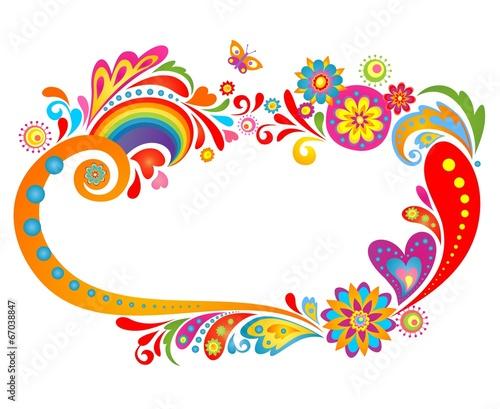 Summery floral frame Tableau sur Toile