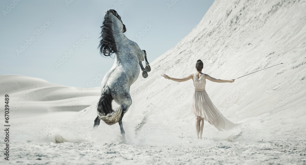 Fototapety, obrazy: Pretty lady with huge horse on the desert