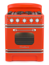 Red Retro Stove Isolated On Wh...