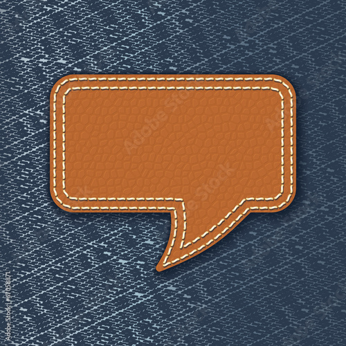 Fotobehang Stof Leather speech bubble on jeans texture