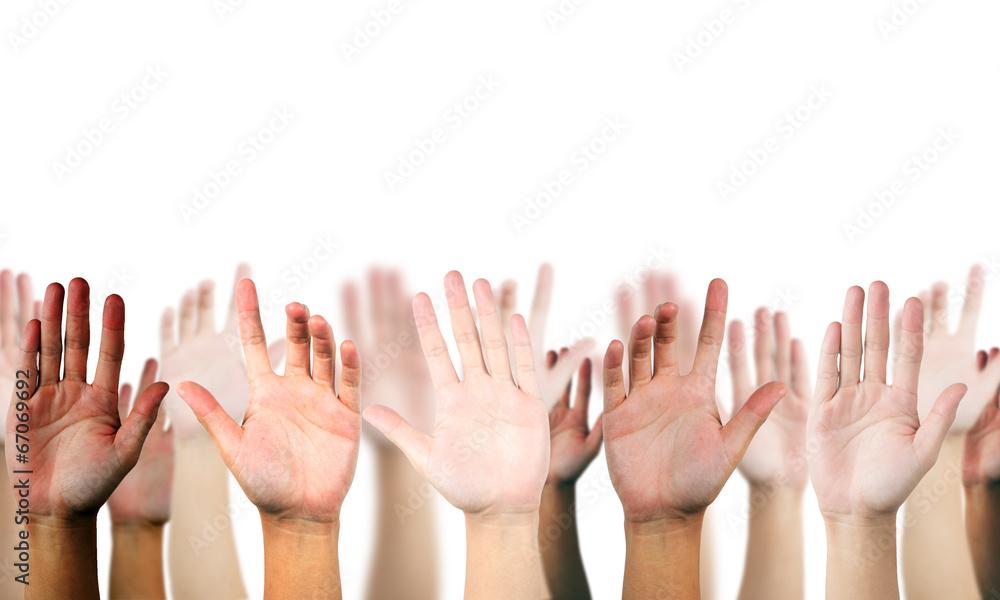 Fototapeta hand raised up on white isolated background