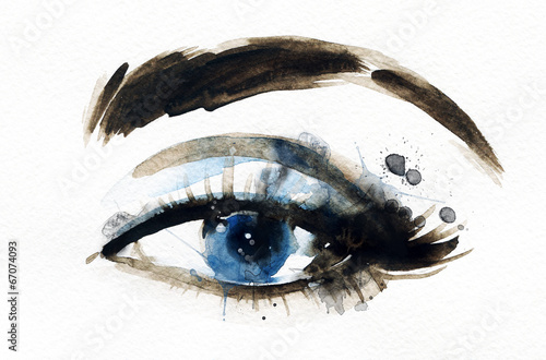 Tuinposter Aquarel Gezicht Woman eye . Hand painted fashion illustration
