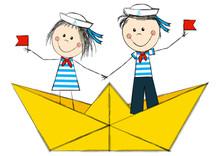 Funny Kids In Paper Boat
