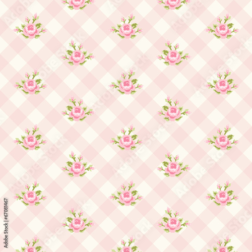 Retro rose pattern 6 Wallpaper Mural