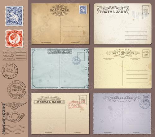 Fotografia  Vector Vintage Postcards and Stamps