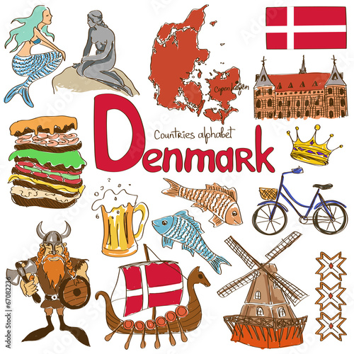 Collection of Denmark icons Poster