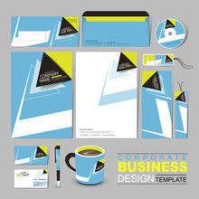 Business Corporate Identity Template With Black And Blue Arrow