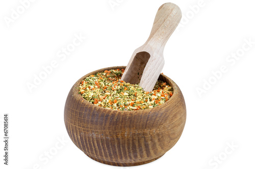 Vegeta spices in wooden bowl Poster