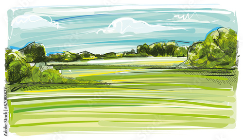 Foto op Canvas Lime groen Art Landscape