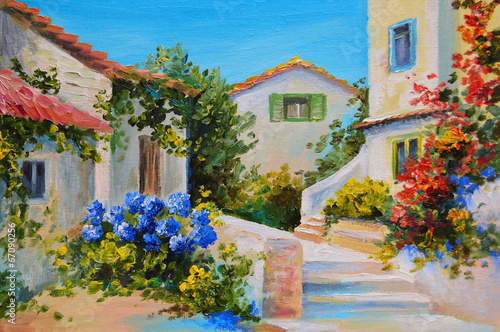 Fototapety, obrazy: Oil painting on canvas of a beautiful houses near the sea