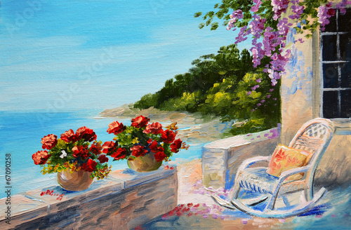oil painting - balcony near the sea
