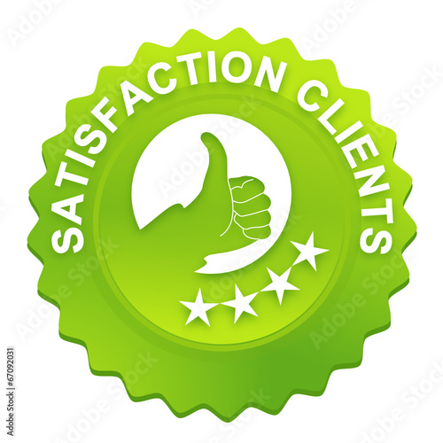 Valokuva  satisfaction clients sur bouton web denté vert