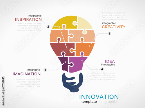 Fotografía  Innovation infographic template with light bulb
